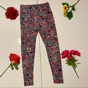 3 For $30 LulaRoe Pink Blue Paisley Floral Legging